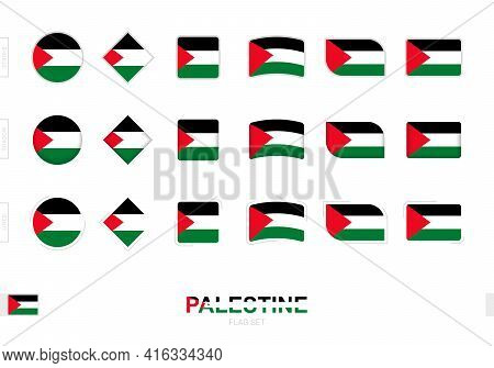 Palestine Flag Set, Simple Flags Of Palestine With Three Different Effects. Vector Illustration.