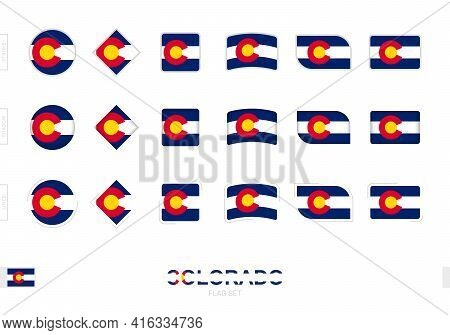 Colorado Flag Set, Simple Flags Of Colorado With Three Different Effects. Vector Illustration.