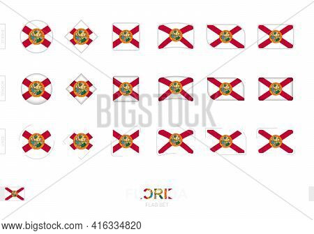 Florida Flag Set, Simple Flags Of Florida With Three Different Effects. Vector Illustration.