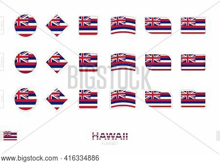 Hawaii Flag Set, Simple Flags Of Hawaii With Three Different Effects. Vector Illustration.