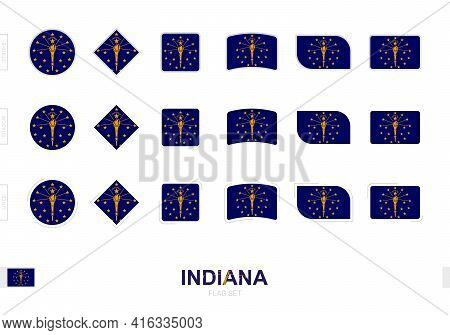 Indiana Flag Set, Simple Flags Of Indiana With Three Different Effects. Vector Illustration.