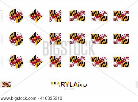 Maryland Flag Set, Simple Flags Of Maryland With Three Different Effects. Vector Illustration.