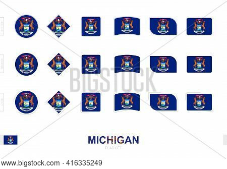 Michigan Flag Set, Simple Flags Of Michigan With Three Different Effects. Vector Illustration.