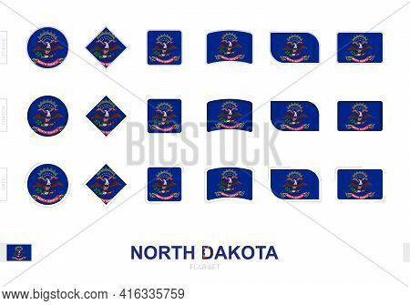 North Dakota Flag Set, Simple Flags Of North Dakota With Three Different Effects. Vector Illustratio