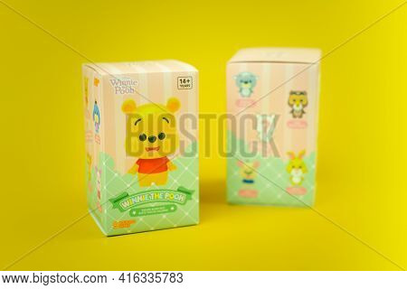 Bangkok, Thailand - April 10, 2021 : Winnie The Pooh Figures Mystery Box Blind Box Collection Is Ran