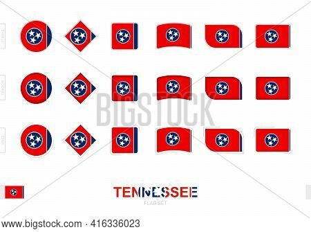 Tennessee Flag Set, Simple Flags Of Tennessee With Three Different Effects. Vector Illustration.