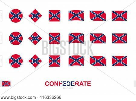 Confederate Flag Set, Simple Flags Of Confederate With Three Different Effects. Vector Illustration.