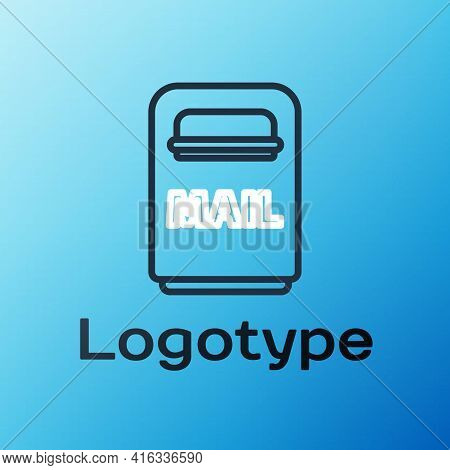 Line Mail Box Icon Isolated On Blue Background. Mailbox Icon. Mail Postbox On Pole With Flag. Colorf