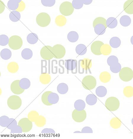 Multicolored Circles On A Light Background. Seamless Endless Pattern Pattern Of Circles In Yellow, P