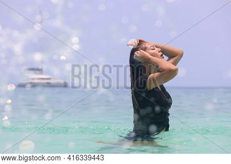 Asian Women Playing In The Sea In Summer.asian Woman With Wet Hair In Sea Water. Fresh Summer Wet Lo