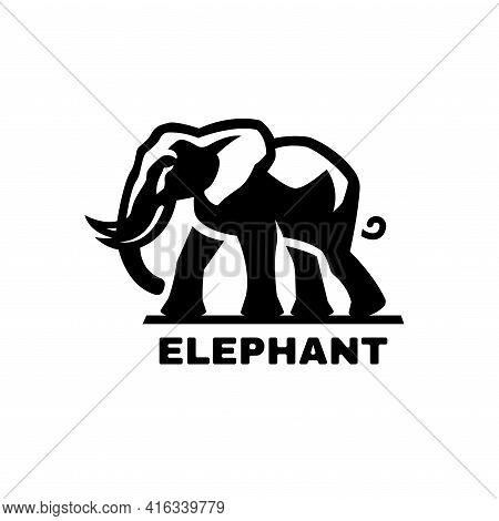 Elephant Symbol, Logo. Black White Style. Vector Illustration.