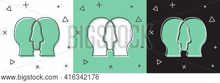 Set Bipolar Disorder Icon Isolated On White And Green, Black Background. Vector