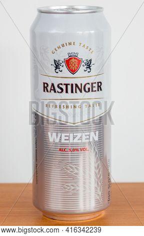 Pruszcz Gdanski, Poland - April 8, 2021: Rastinger Waizen Beer.