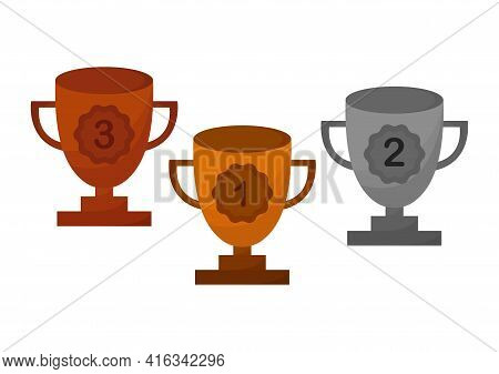 Illustration Of Gold, Silver And Bronze Trophies, Gold Trophies For 1st Place, Silver Trophies For 2