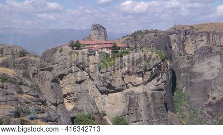 Famous Meteora Monasteries Over The Rock In Greece Near The Town Of Kalambaka