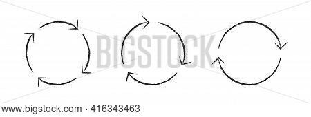Arrow Set Circle Reverse Vector Grunge Shape, Round Arrows Circular Grungy Cycle Collection Illustra