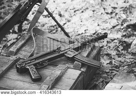 Old Soviet Russian Red Army Submachine Gun Pps-43 Weapon Gun Of World War Ii Lying On The Wooden Box
