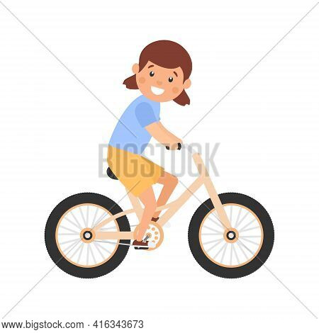 Happy Cute Girl Riding Bike. Healthy Lifestyle Concept. Little Child Rides Bicycle. Vector Isolated