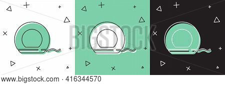 Set Dental Floss Icon Isolated On White And Green, Black Background. Vector