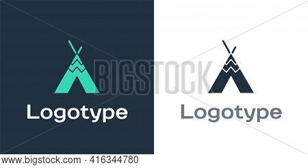 Logotype Traditional Indian Teepee Or Wigwam Icon Isolated On White Background. Indian Tent. Logo De