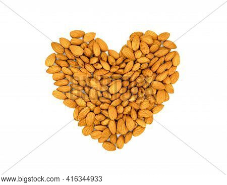 Golden Almond Heart. Natural Organic Nut Kernel. Protein Superfood Or Healthy Snack. Almond Pile Sca