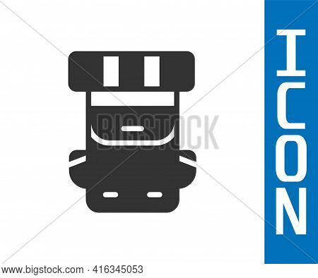Grey Hiking Backpack Icon Isolated On White Background. Camping And Mountain Exploring Backpack. Vec