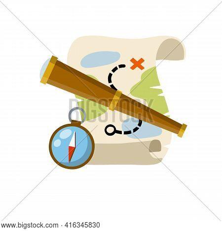 Treasure Map. Pirate Hidden Treasure. Search For Adventure And Travel. Telescope And Compass. Naviga