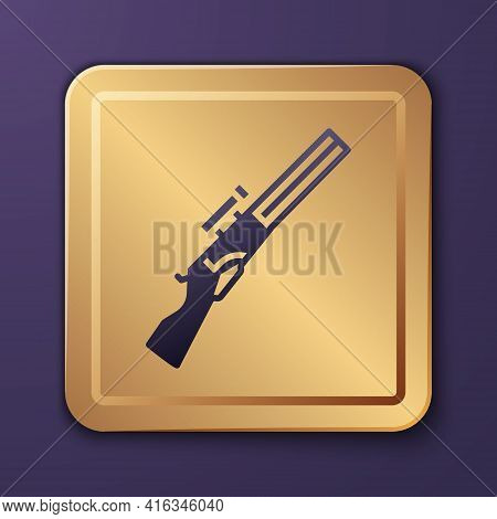 Purple Hunting Gun Icon Isolated On Purple Background. Hunting Shotgun. Gold Square Button. Vector