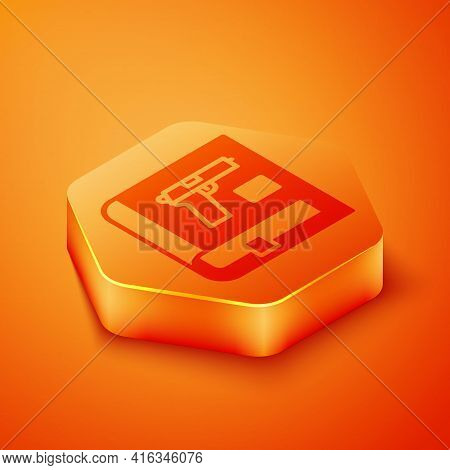 Isometric Book With Pistol Or Gun Icon Isolated On Orange Background. Police Or Military Handgun. Sm