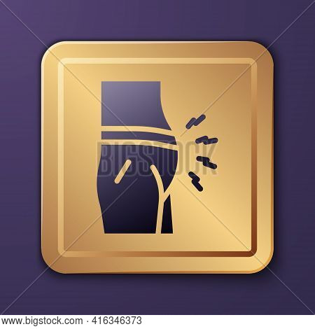 Purple Abdominal Bloating Icon Isolated On Purple Background. Constipation Or Diarrhea. Gold Square