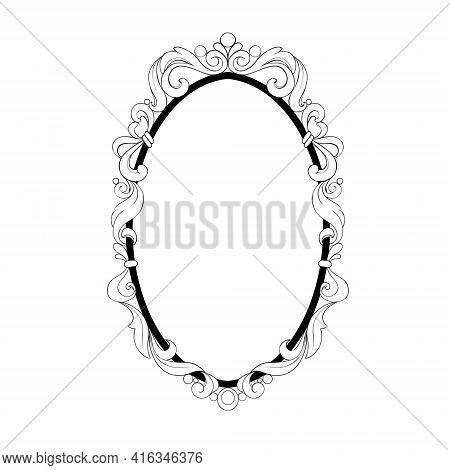 Vintage Baroque Frame. Decorative Design Element Black And White