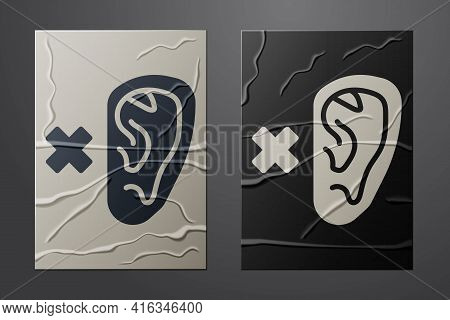 White Deafness Icon Isolated On Crumpled Paper Background. Deaf Symbol. Hearing Impairment. Paper Ar