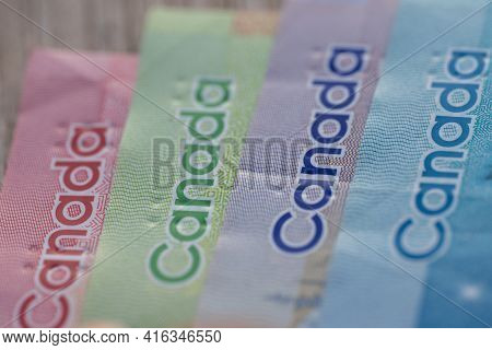 Canadian Dollar Bills Colorful Macrophotography Close Up Of Bill Corners For Canada Money Exchange C