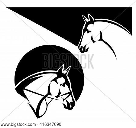 Wild Mustang And Thoroughbred Bridled Horse Profile Head Black And White Vector Outline Portrait