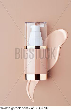 Foundation Bottle With Liquid Foundation. Advertising Of Foundation Cream, Concealer, Base, Bb Cream