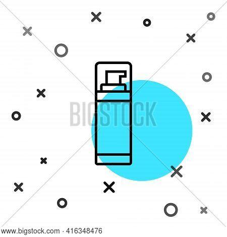 Black Line Shaving Gel Foam Icon Isolated On White Background. Shaving Cream. Random Dynamic Shapes.