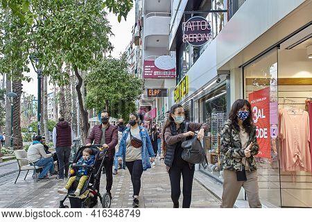 Antalya, Turkey - March 20, 2021: Turkey Mandates Mask-wearing In All Public Areas. In Tough Measure