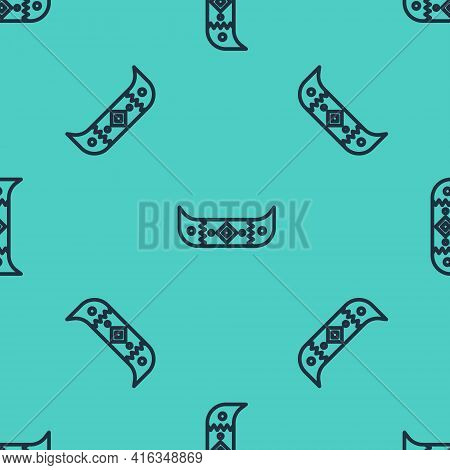 Black Line Kayak And Paddle Icon Isolated Seamless Pattern On Green Background. Kayak And Canoe For