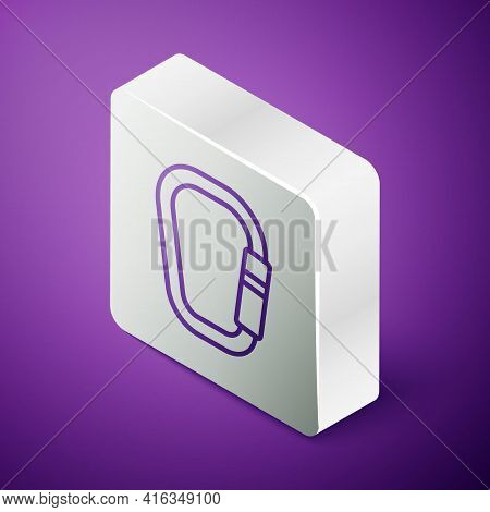 Isometric Line Carabiner Icon Isolated On Purple Background. Extreme Sport. Sport Equipment. Silver