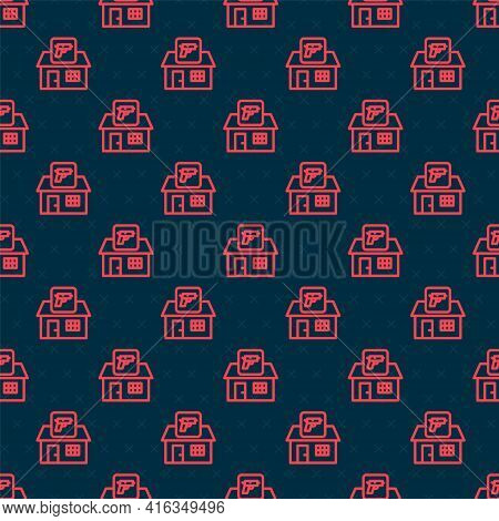 Red Line Hunting Shop With Rifle And Gun Weapon Icon Isolated Seamless Pattern On Black Background.