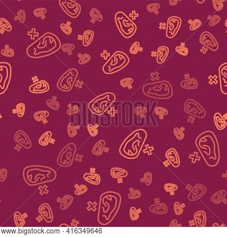 Brown Line Deafness Icon Isolated Seamless Pattern On Red Background. Deaf Symbol. Hearing Impairmen