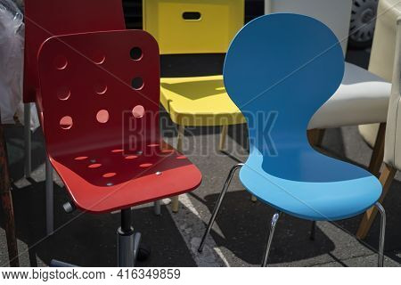 Designer Chairs With Different Colours At A Flea Market In Hamburg, Germany.