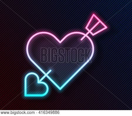 Glowing Neon Line Amour Symbol With Heart And Arrow Icon Isolated On Black Background. Love Sign. Va