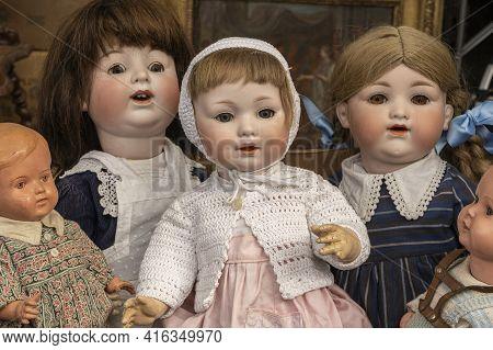 Antique Dolls On A Flea Market, Hamburg, Germany, March 23, 2019.