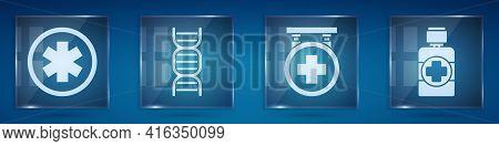 Set Medical Symbol Of The Emergency, Dna Symbol, Hospital Signboard And Bottle Of Medicine Syrup. Sq