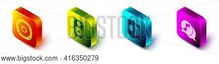 Set Isometric Stereo Speaker, Stereo Speaker, Vinyl Player With A Vinyl Disk And Musical Note In Spe