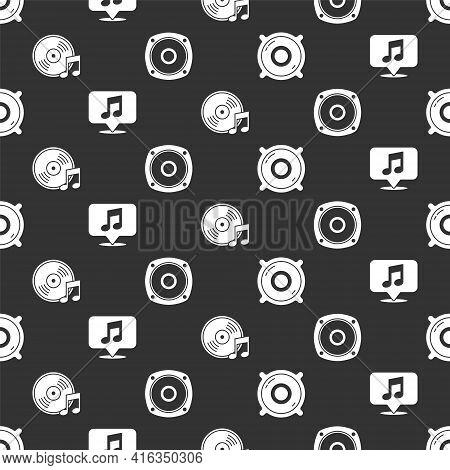 Set Stereo Speaker, Musical Note In Speech Bubble, Vinyl Disk And Stereo Speaker On Seamless Pattern