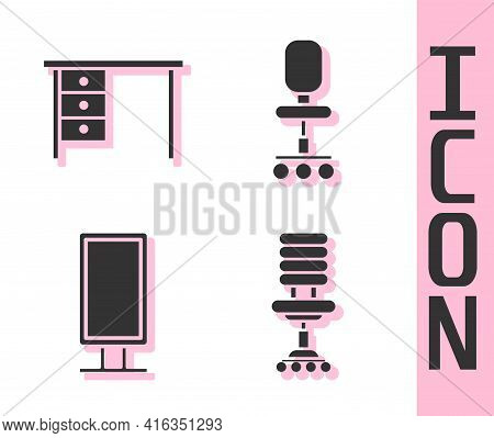 Set Office Chair, Office Desk, Big Full Length Mirror And Office Chair Icon. Vector