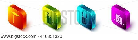 Set Isometric Paper Mustache On Stick, Mulled Wine, Lighter And Cake Icon. Vector