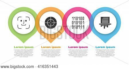 Set Face Recognition, Target Sport, Binary Code And Paper Shredder. Business Infographic Template. V